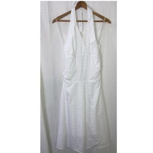 White halter dress with detailing